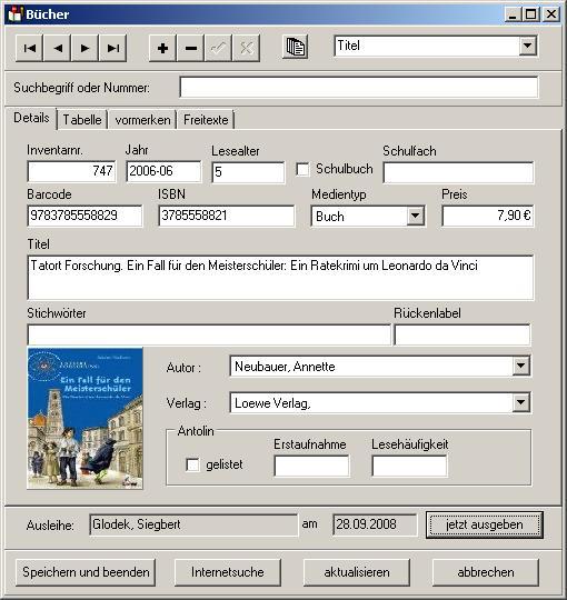 BISaM Büchereiverwaltung für Schulen
